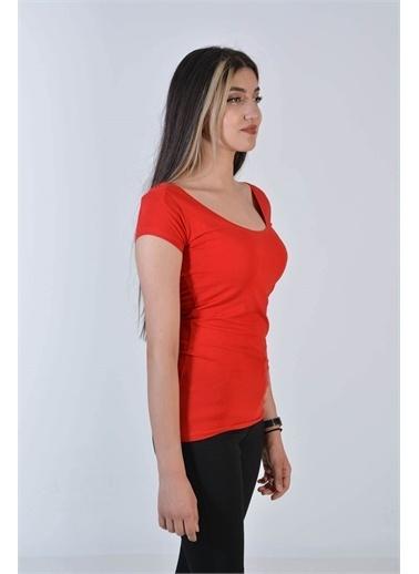 Zeren Kadın Kırmızı Bisiklet Yaka Kısa Kol Tişört Kırmızı